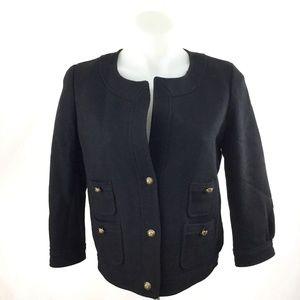 J Crew Black Wool Pique Gold Button Short Jacket